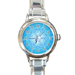 Design Winter Snowflake Decoration Round Italian Charm Watch