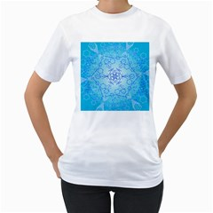 Design Winter Snowflake Decoration Women s T Shirt (white) (two Sided)