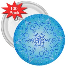 Design Winter Snowflake Decoration 3  Buttons (100 Pack)