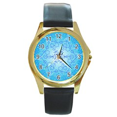 Design Winter Snowflake Decoration Round Gold Metal Watch