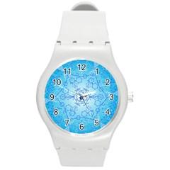 Design Winter Snowflake Decoration Round Plastic Sport Watch (M)