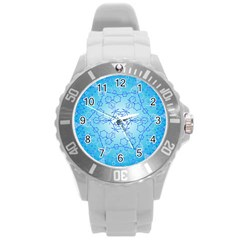 Design Winter Snowflake Decoration Round Plastic Sport Watch (L)