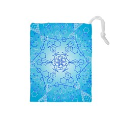 Design Winter Snowflake Decoration Drawstring Pouches (Medium)