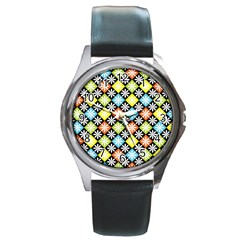 Diamonds Argyle Pattern Round Metal Watch