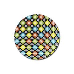 Diamonds Argyle Pattern Rubber Round Coaster (4 pack)