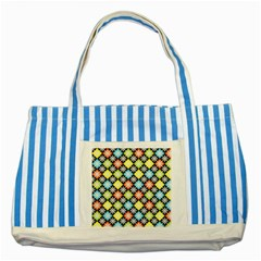Diamonds Argyle Pattern Striped Blue Tote Bag