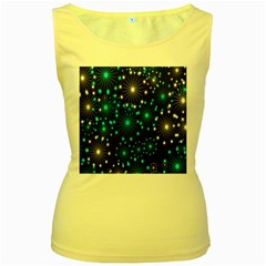Digitally Created Snowflake Pattern Women s Yellow Tank Top