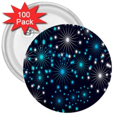 Digitally Created Snowflake Pattern 3  Buttons (100 pack)