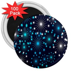 Digitally Created Snowflake Pattern 3  Magnets (100 pack)