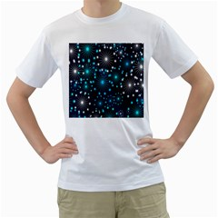 Digitally Created Snowflake Pattern Men s T-Shirt (White) (Two Sided)