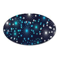 Digitally Created Snowflake Pattern Oval Magnet