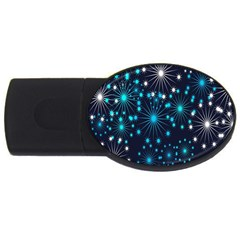 Digitally Created Snowflake Pattern USB Flash Drive Oval (1 GB)
