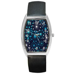Digitally Created Snowflake Pattern Barrel Style Metal Watch