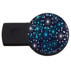 Digitally Created Snowflake Pattern USB Flash Drive Round (4 GB)