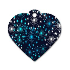 Digitally Created Snowflake Pattern Dog Tag Heart (Two Sides)