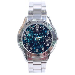 Digitally Created Snowflake Pattern Stainless Steel Analogue Watch