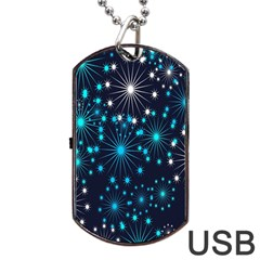 Digitally Created Snowflake Pattern Dog Tag USB Flash (Two Sides)