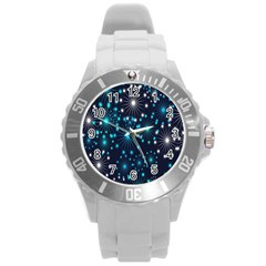Digitally Created Snowflake Pattern Round Plastic Sport Watch (L)