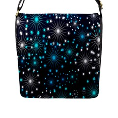 Digitally Created Snowflake Pattern Flap Messenger Bag (L)