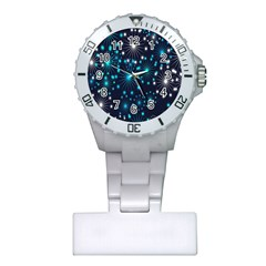 Digitally Created Snowflake Pattern Plastic Nurses Watch