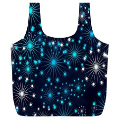 Digitally Created Snowflake Pattern Full Print Recycle Bags (l)