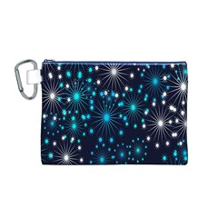 Digitally Created Snowflake Pattern Canvas Cosmetic Bag (m)