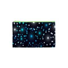 Digitally Created Snowflake Pattern Cosmetic Bag (XS)