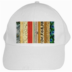 Digitally Created Collage Pattern Made Up Of Patterned Stripes White Cap