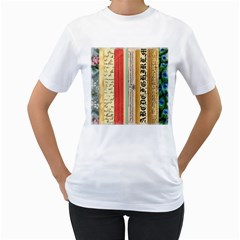 Digitally Created Collage Pattern Made Up Of Patterned Stripes Women s T-Shirt (White) (Two Sided)