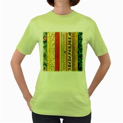 Digitally Created Collage Pattern Made Up Of Patterned Stripes Women s Green T Shirt