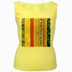 Digitally Created Collage Pattern Made Up Of Patterned Stripes Women s Yellow Tank Top