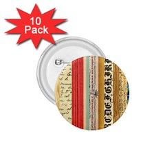 Digitally Created Collage Pattern Made Up Of Patterned Stripes 1 75  Buttons (10 Pack)