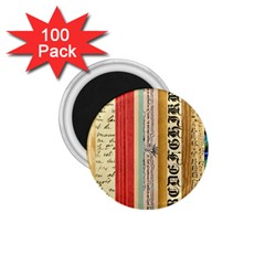 Digitally Created Collage Pattern Made Up Of Patterned Stripes 1.75  Magnets (100 pack)