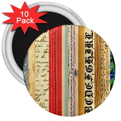 Digitally Created Collage Pattern Made Up Of Patterned Stripes 3  Magnets (10 pack)