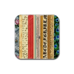 Digitally Created Collage Pattern Made Up Of Patterned Stripes Rubber Square Coaster (4 pack)