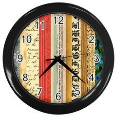 Digitally Created Collage Pattern Made Up Of Patterned Stripes Wall Clocks (black)