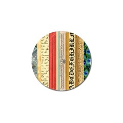 Digitally Created Collage Pattern Made Up Of Patterned Stripes Golf Ball Marker
