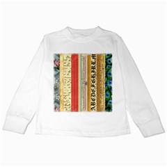 Digitally Created Collage Pattern Made Up Of Patterned Stripes Kids Long Sleeve T-Shirts