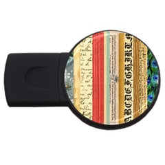 Digitally Created Collage Pattern Made Up Of Patterned Stripes USB Flash Drive Round (4 GB)