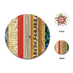 Digitally Created Collage Pattern Made Up Of Patterned Stripes Playing Cards (Round)