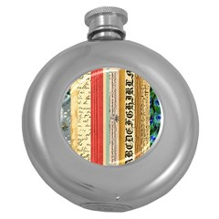 Digitally Created Collage Pattern Made Up Of Patterned Stripes Round Hip Flask (5 oz)