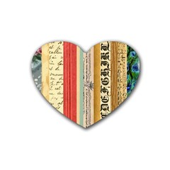 Digitally Created Collage Pattern Made Up Of Patterned Stripes Heart Coaster (4 pack)