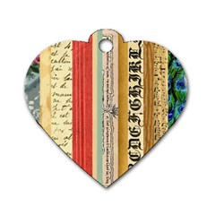 Digitally Created Collage Pattern Made Up Of Patterned Stripes Dog Tag Heart (One Side)