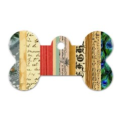 Digitally Created Collage Pattern Made Up Of Patterned Stripes Dog Tag Bone (Two Sides)