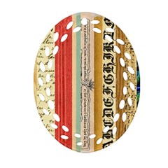 Digitally Created Collage Pattern Made Up Of Patterned Stripes Oval Filigree Ornament (two Sides)