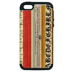 Digitally Created Collage Pattern Made Up Of Patterned Stripes Apple Iphone 5 Hardshell Case (pc+silicone)