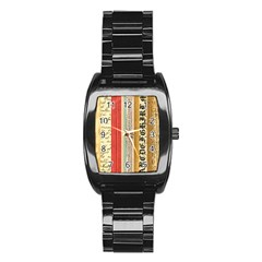 Digitally Created Collage Pattern Made Up Of Patterned Stripes Stainless Steel Barrel Watch