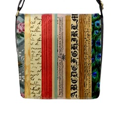 Digitally Created Collage Pattern Made Up Of Patterned Stripes Flap Messenger Bag (L)