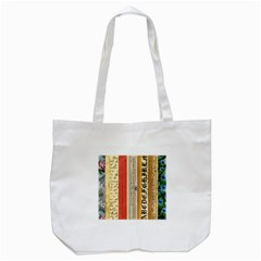 Digitally Created Collage Pattern Made Up Of Patterned Stripes Tote Bag (white)