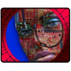 Display Dummy Binary Board Digital Fleece Blanket (medium)